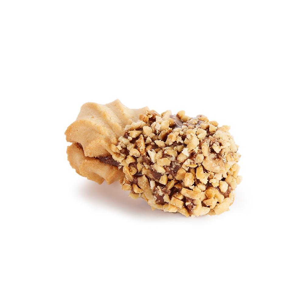 Školjka kikiriki - punjeno čajno pecivo preliveno čokoladom, posuto kikirikijem, punjeno voćnim filom od kajsije