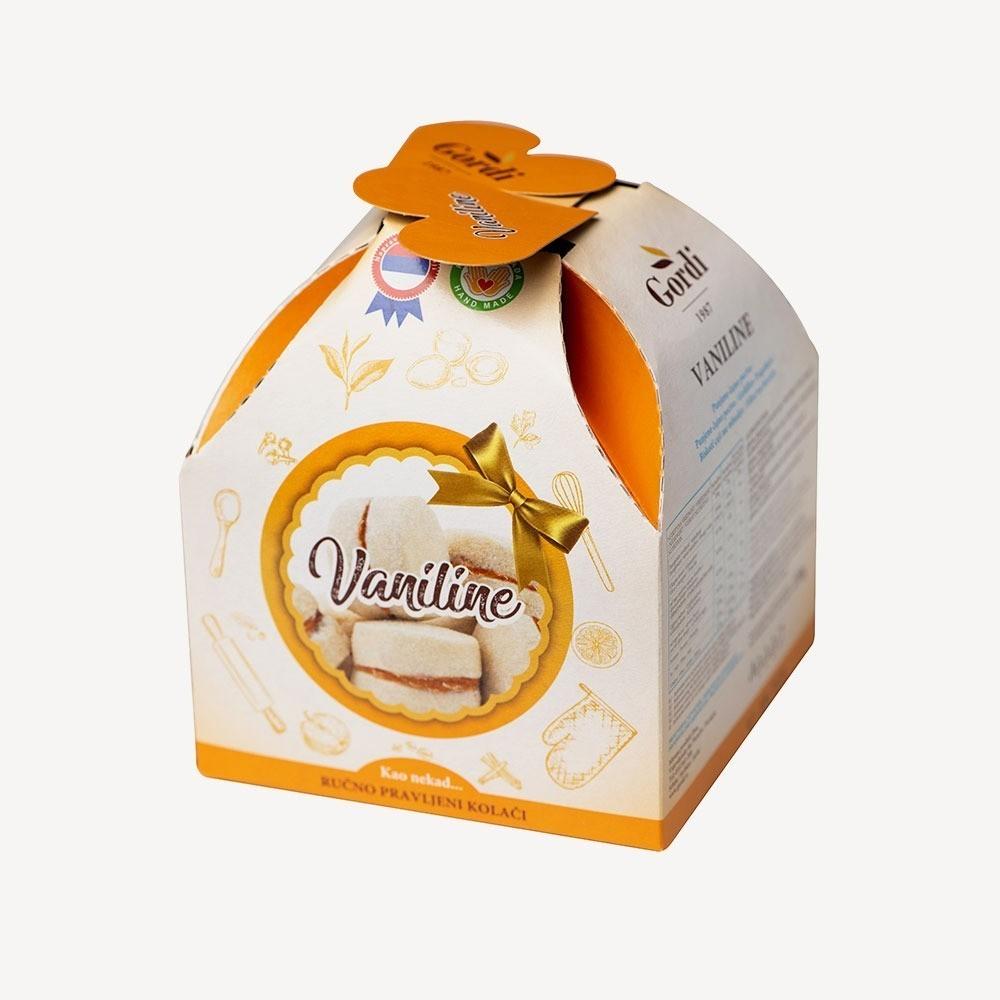 Vaniline - punjeno čajno pecivo posuto šećerom u prahu, punjeno nadevom od kajsije, ambalaža
